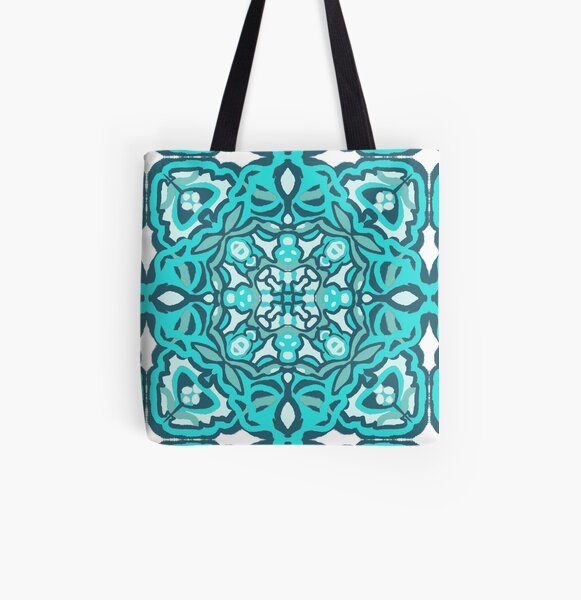 Garden of Teal All Over Print Tote Bag