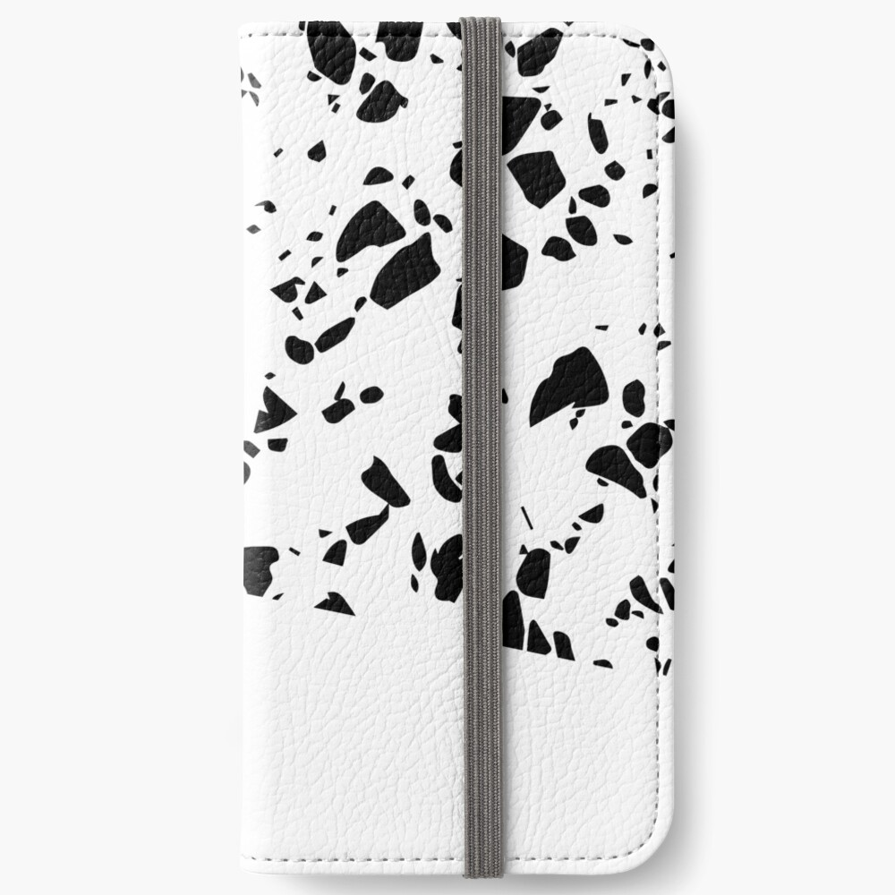 Terrazzo Texture Black and White #8 iPhone Wallet