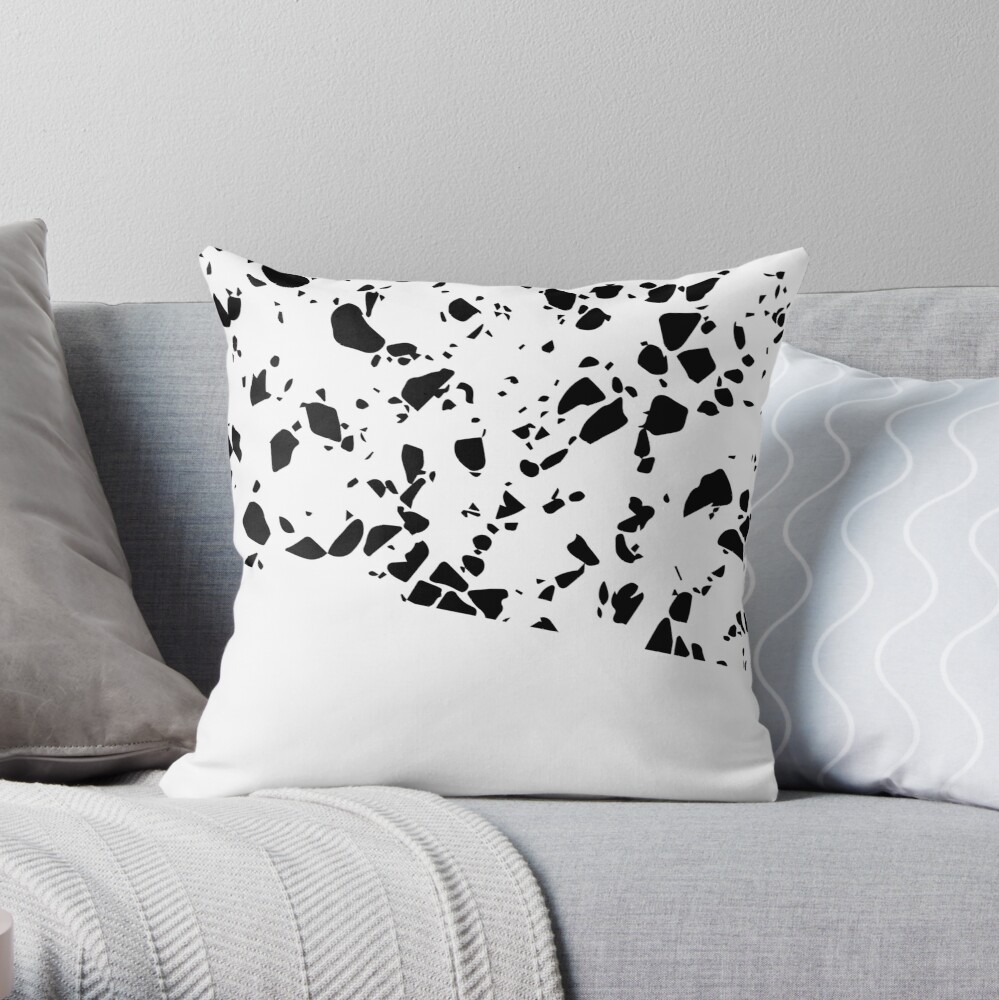 Terrazzo Texture Black and White #8 Throw Pillow