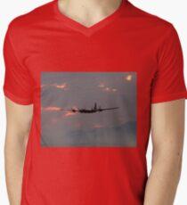 B-29 Bomber Plane flying at Sunset Mens V-Neck T-Shirt