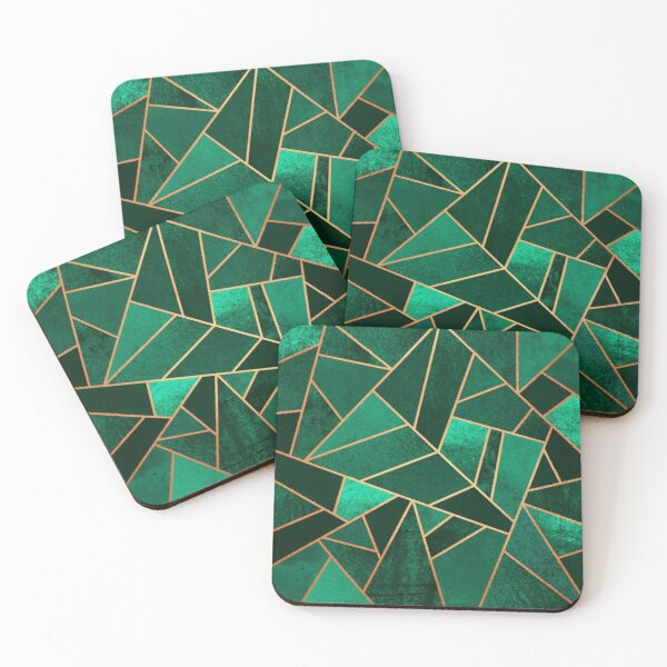 Emerald and Copper Coasters (Set of 4)