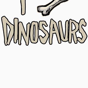 I Bone Dinosaurs (Dark) by designpickles