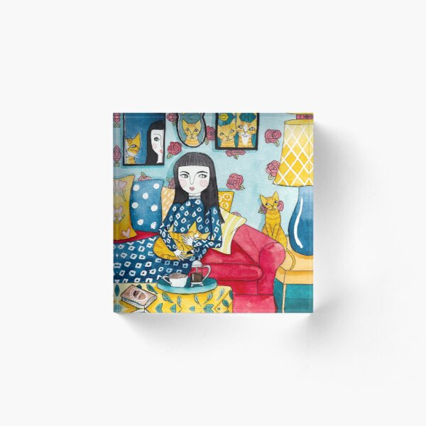 A Girl and Her Ginger Cats Acrylic Block