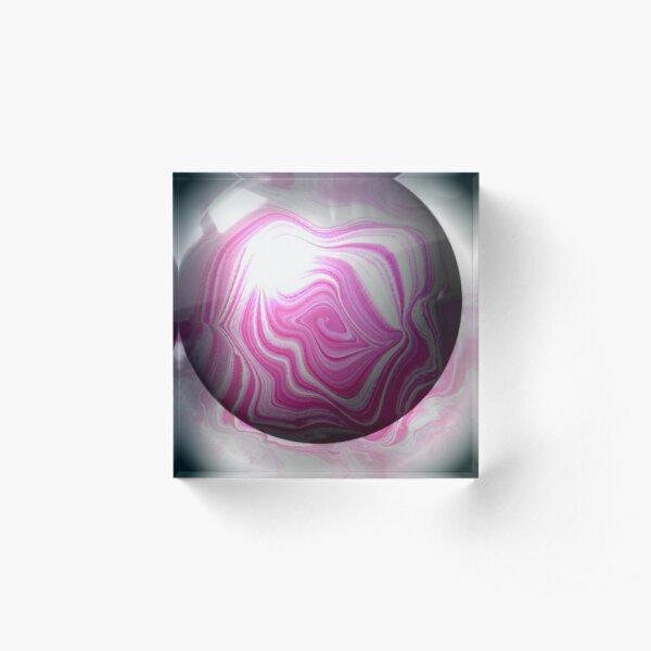 Pink-Grey Bubble Acrylic Block