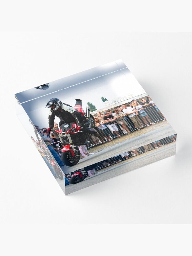 Alternate view of motorcycle stunt 005 Acrylic Block
