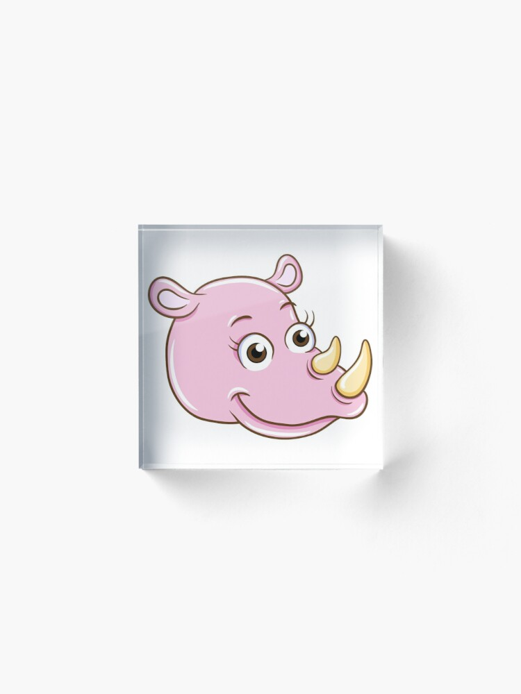 Alternate view of Head of smiling pink cartoon rhino Acrylic Block