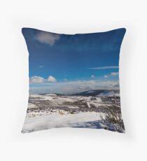 Snowy Scottish landscape Throw Pillow