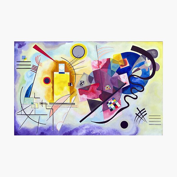 Kandinsky Jaune Rouge Bleu (Yellow Red Blue) Artwork 1925, Abstract Design for Posters, Prints, Tshirts, Men, Women, Kids, Youth Photographic Print