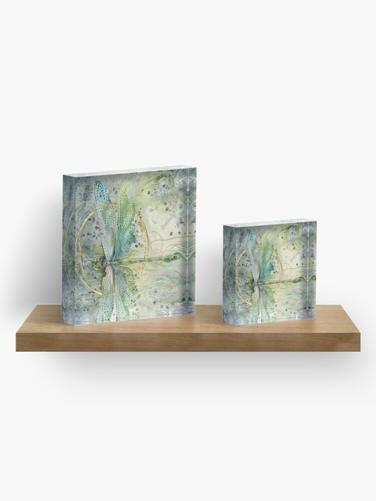 Alternate view of Beautiful Enchanted Dragonfly  Acrylic Block
