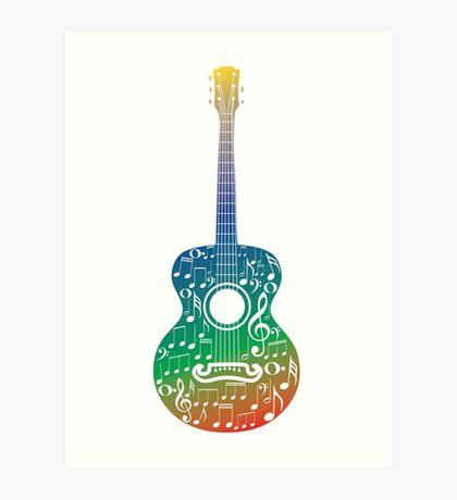 Gitarre und Musiknoten 6 Kunstdruck