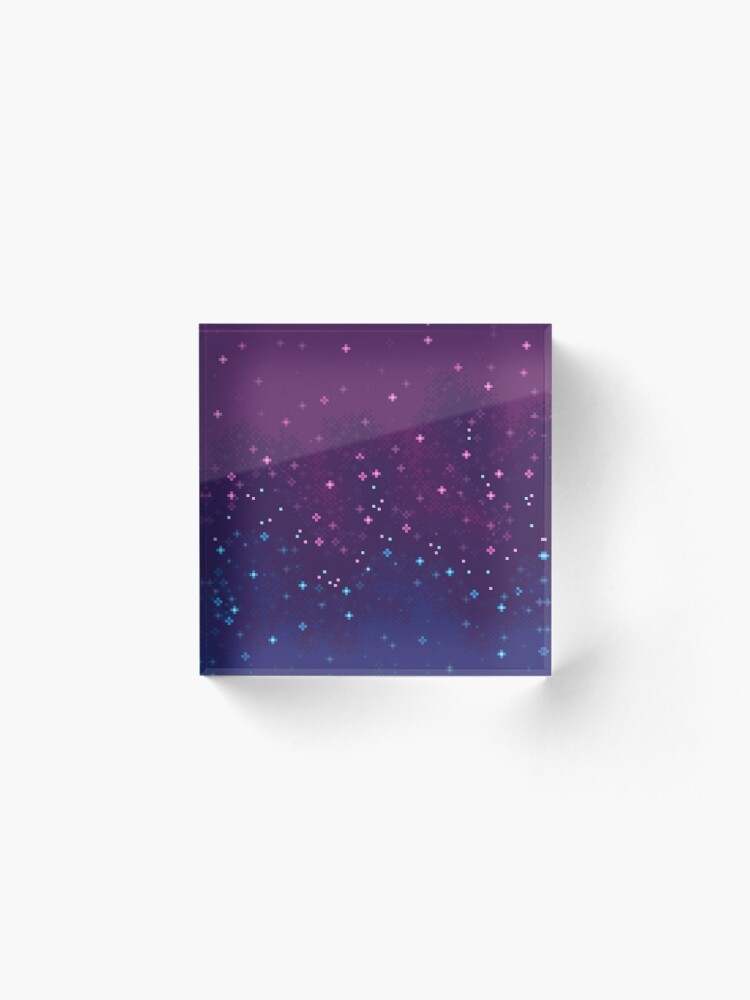 Alternative Ansicht von Bi Pride Flagge Galaxy (8bit) Acrylblock