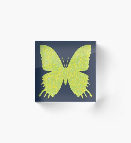 #DeepDream Lemon Lime color Butterfly Acrylic Block