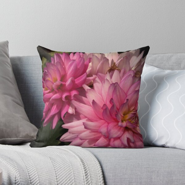 Pink Dahlias from A Gardener's Notebook Throw Pillow