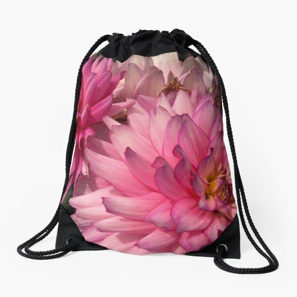 Pink Dahlias from A Gardener's Notebook Drawstring Bag