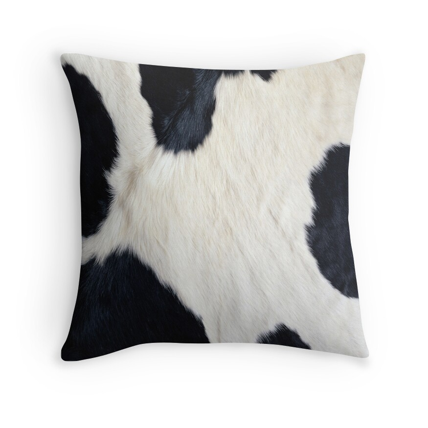 Quot Cowhide Black And White Quot Throw Pillows By Gypsykiss