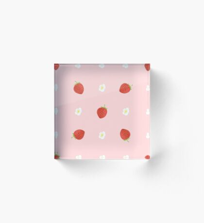 Seamless Background of Strawberries with Leaves and Flowers Acrylic Block