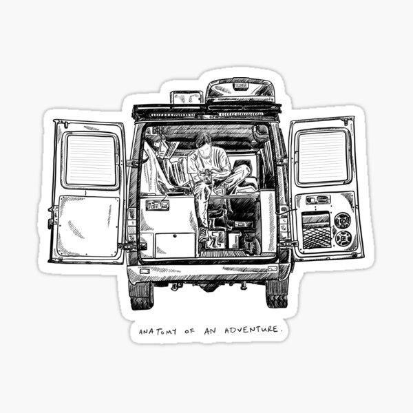 Anatomie d'une aventure Sprinter Van Sketch Sticker