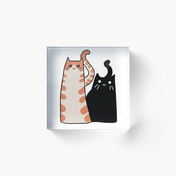 Tabby Cat and Black Cat Acrylic Block