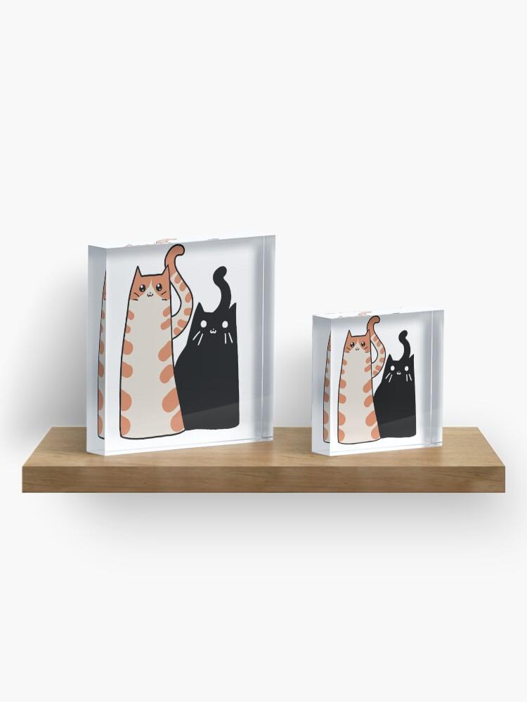 Alternate view of Tabby Cat and Black Cat Acrylic Block