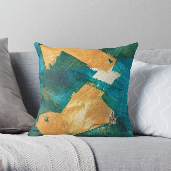teal and mustard 4 Throw Pillow
