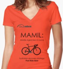 Cycling T Shirt - MAMIL (middle aged men in lycra) Hydration Women's Fitted V-Neck T-Shirt