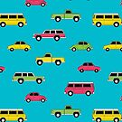 Retro Cars on Blue by denisecolgs