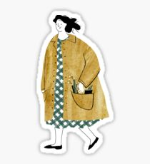 Girl walking with flowers in her pocket Sticker