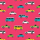 Retro Cars on Pink by denisecolgs