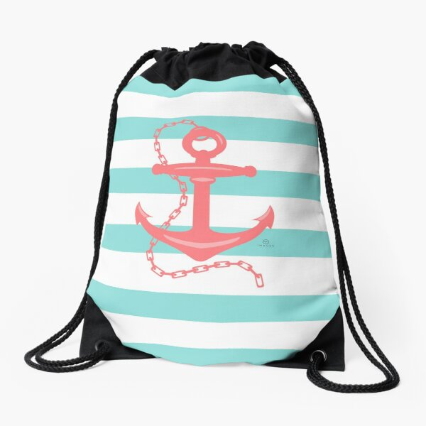 AFE Nautical Anchor  Coral & Seafoam Drawstring Bag
