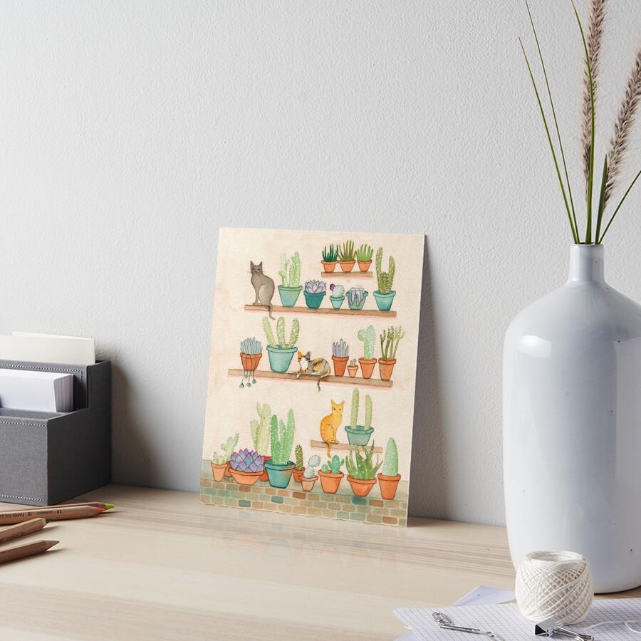 Cats and Cacti Art Board Print