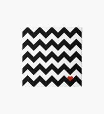 Heart & Chevron - Black/Classic Red Art Board Print