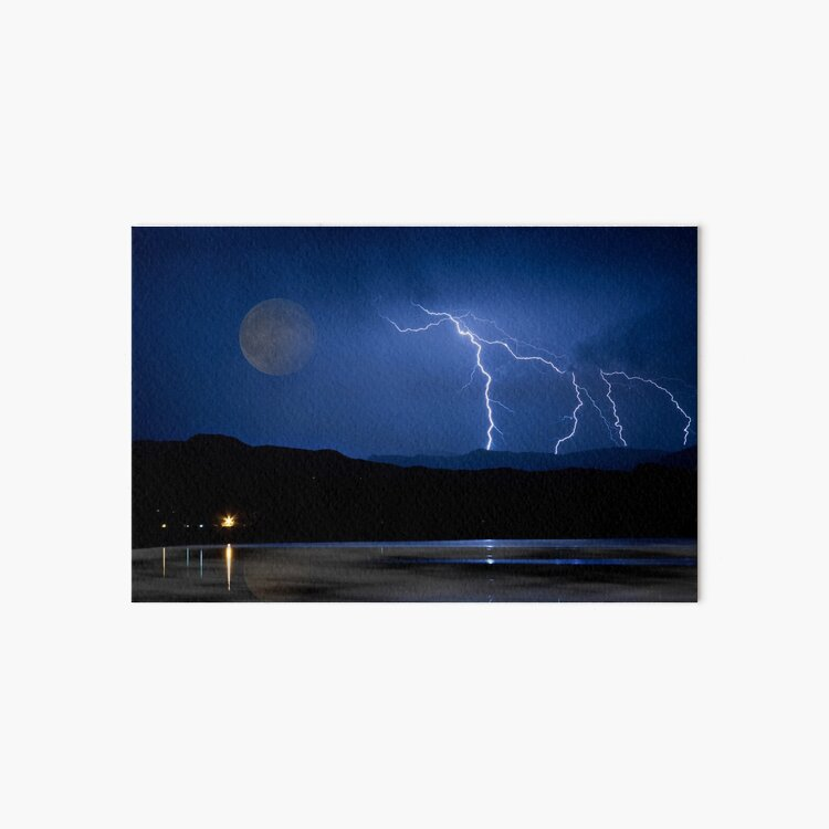 Lightning Storm - Full Moon - Misty Lake  Art Board Print