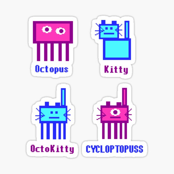 Cycloptopuss Genetics: Pixel Cat / Octopus Genetics Chart Sticker