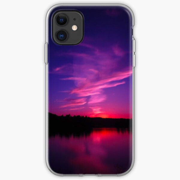 Purple Sunset in Montana, Foys Lake, Flathead Valley  iPhone Soft Case