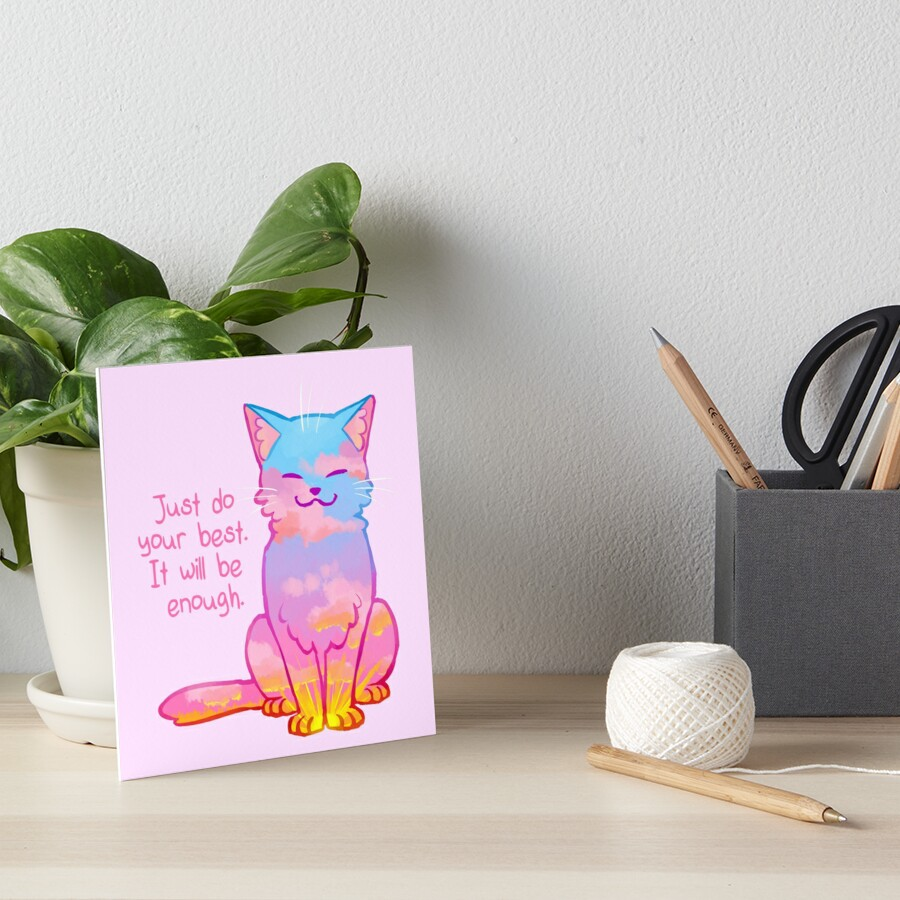 """Your Best Is Enough"" Sunset Cat Art Board Print"