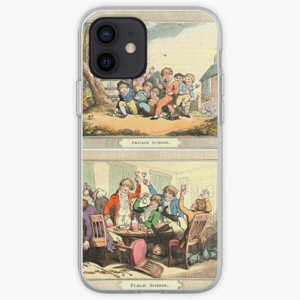 Public School vs Private School | 1802 Vintage Cartoon | On view at The Met Gallery 999 iPhone Soft Case