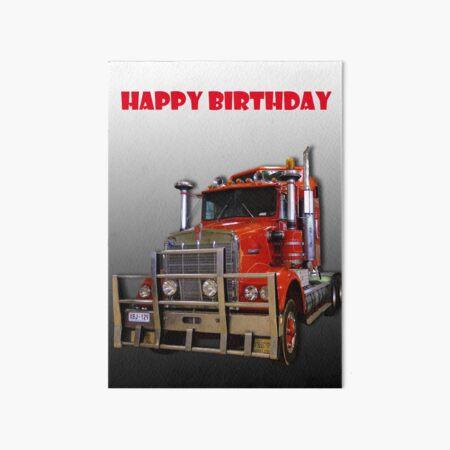 Red Kenworth Truck Happy Birthday Art Board Print