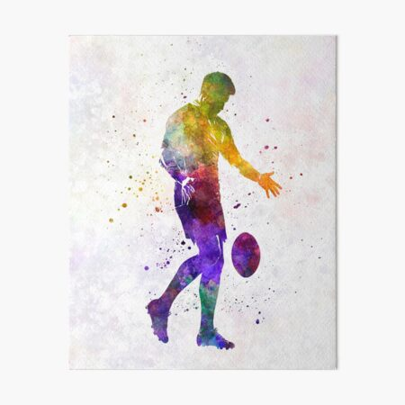 Rugby man player 02 in watercolor Art Board Print