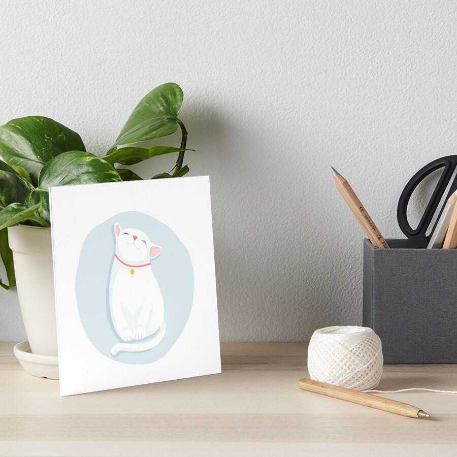 Cat White Art Board Print