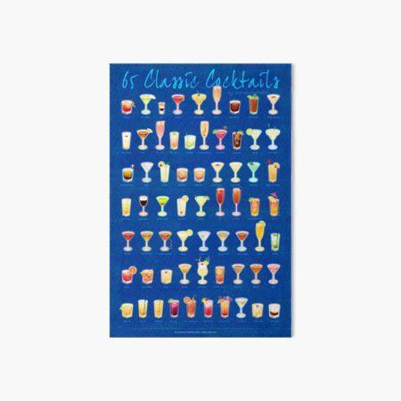 65 Classic Cocktails Art Board Print