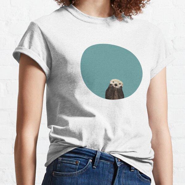 Cute Sea Otter on Teal Solid. Minimalist. Coastal. Adorable. Classic T-Shirt