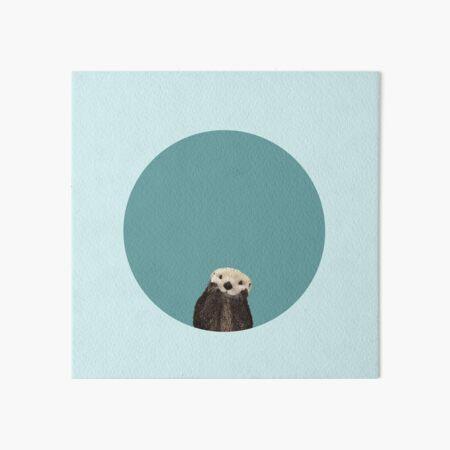 Cute Sea Otter on Teal Solid. Minimalist. Coastal. Adorable. Art Board Print