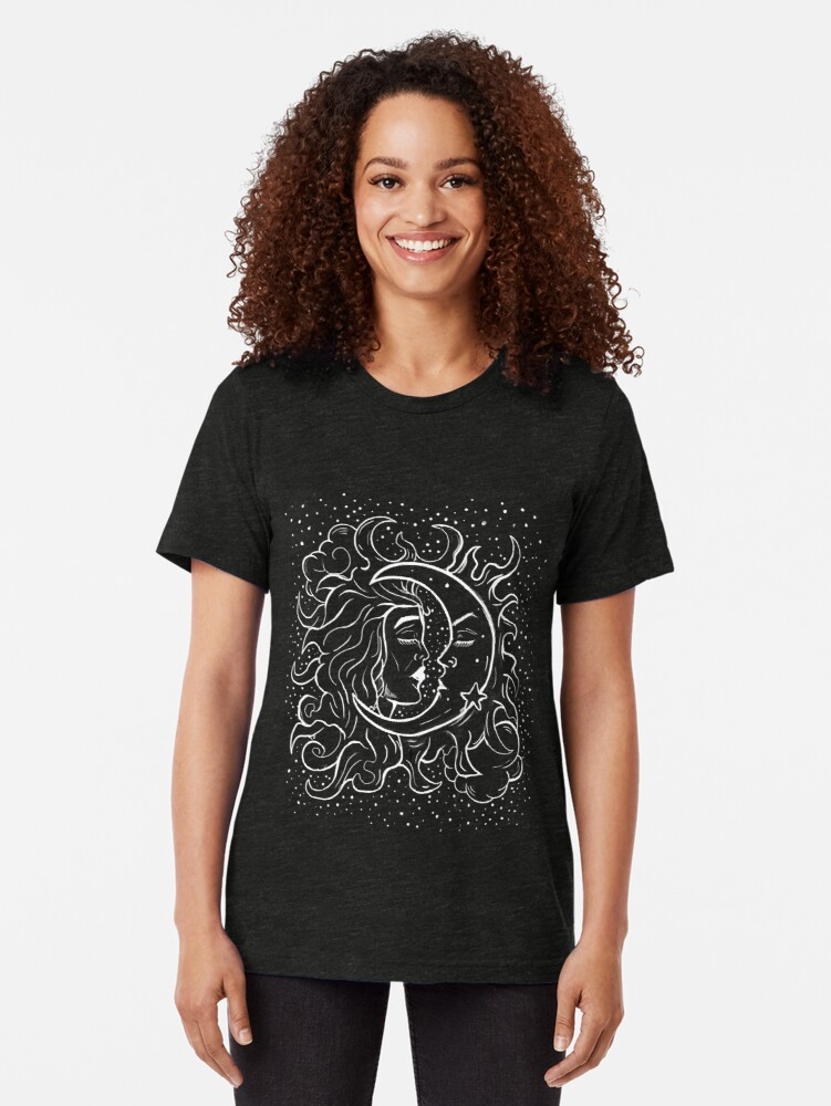 Alternate view of Sun & Moon Gothic Witchy Hand Drawn Design Tri-blend T-Shirt