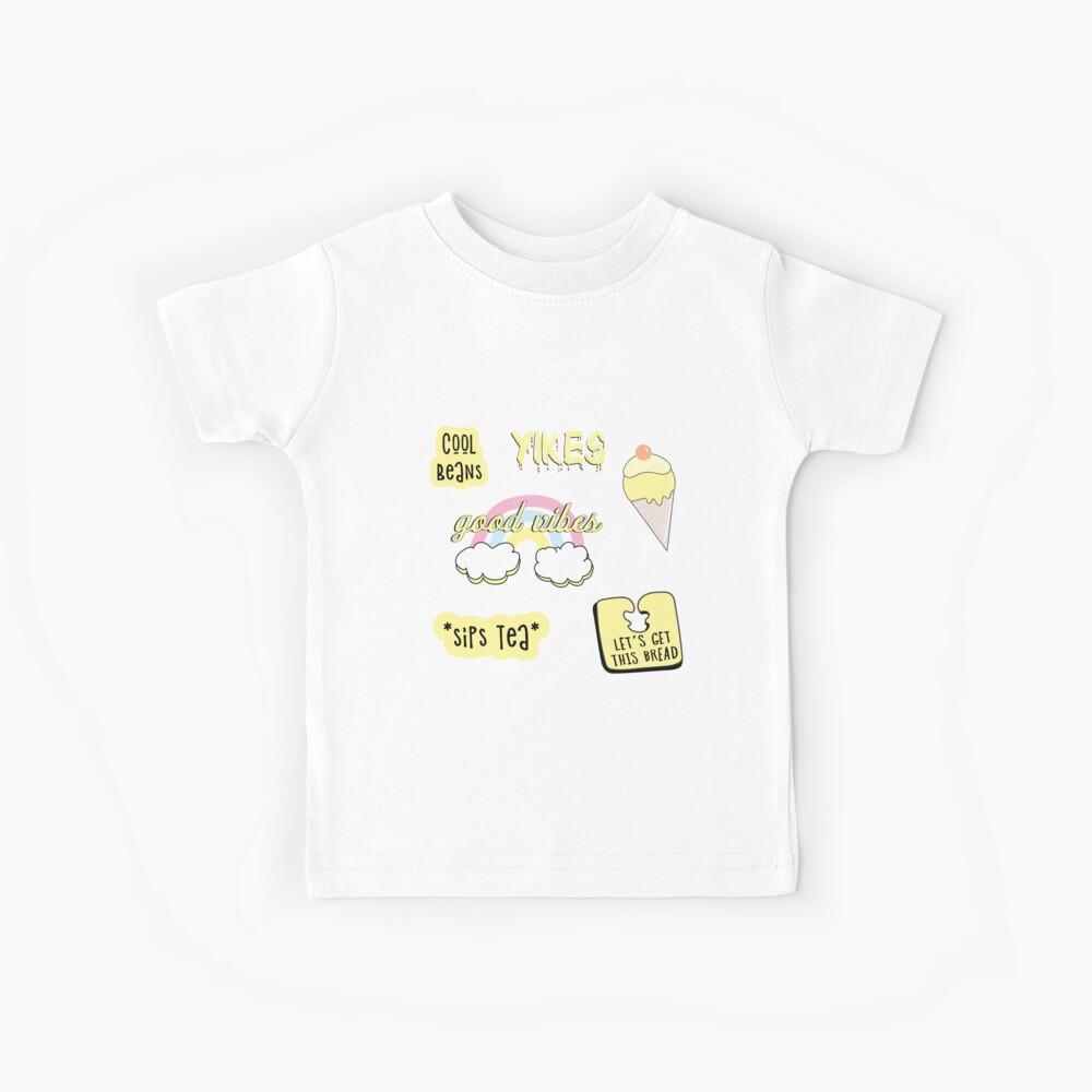 Hellgelbes Pastell Sticker Pack Kinder T-Shirt