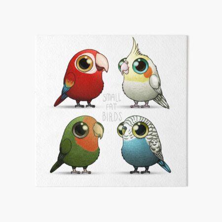 Small Fat Parrots Art Board Print