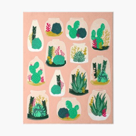 Terrariums - Cute little planters for succulents in repeat pattern by Andrea Lauren Art Board Print