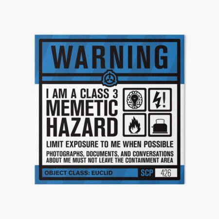 SCP 426 Panneau d'avertissement Impression rigide
