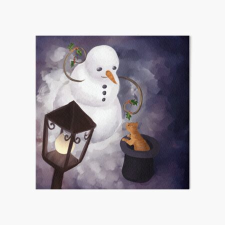 Snowman and cat Art Board Print