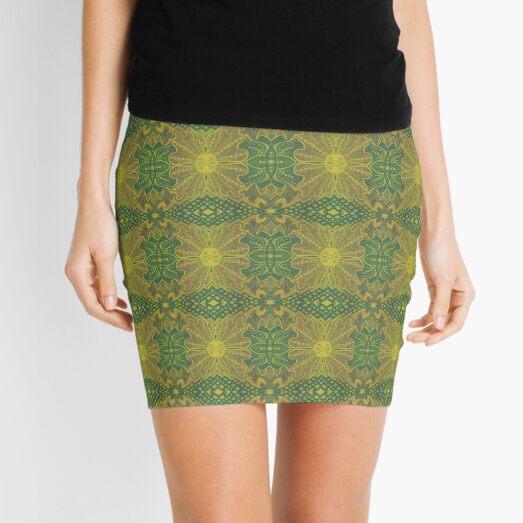 Oak King, Bohemian Arabesque Pattern, Yellow Green Mini Skirt