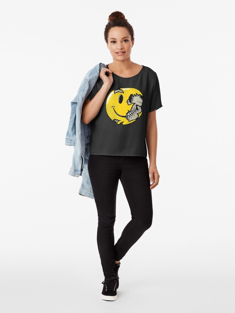 Alternate view of Smiley face skull Chiffon Top